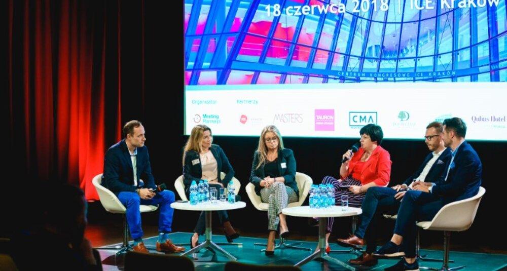 Uczestnicy panelu podczas MP Destinatons Day: Krzysztof Celuch, Joanna Chwastek-Pluta, Paula Fanderowska, Anna Jędrocha, Julien Hallier, Krzysztof Paradowski