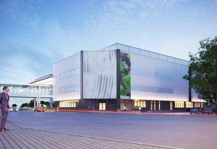 Międzynarodowe Targi Poznańskie: Poznań Congress Center z elewację kinetyczną, wyposażony w iluminację świetlną